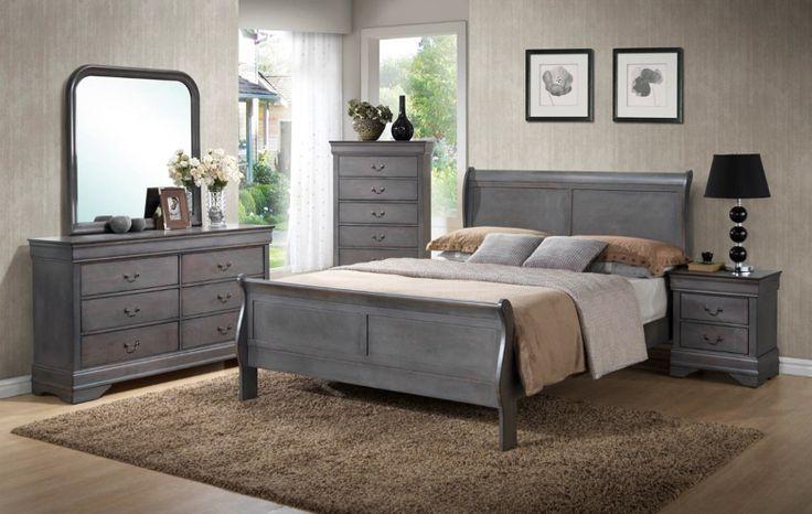 Unique Rustic Grey Sleigh Bedroom Set! King 7pc Set: $699! Queen ...
