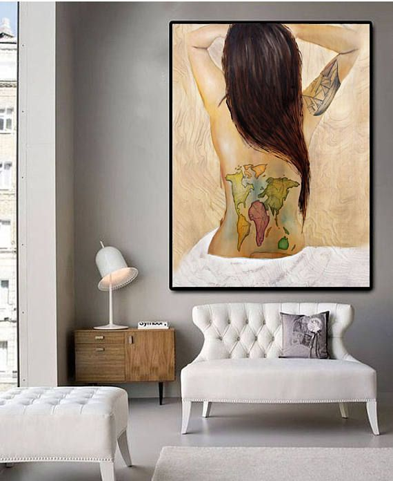 World Traveler, painting, world map, wooden ship tattoo, oil on wood, wood painting, modern art