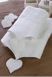Coppia asciugamani bianchi con cuori - Maison Matilde