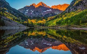 Обои США, лес, осень, озеро, штат, Maroon Bells, отражения, Колорадо, скалистые горы