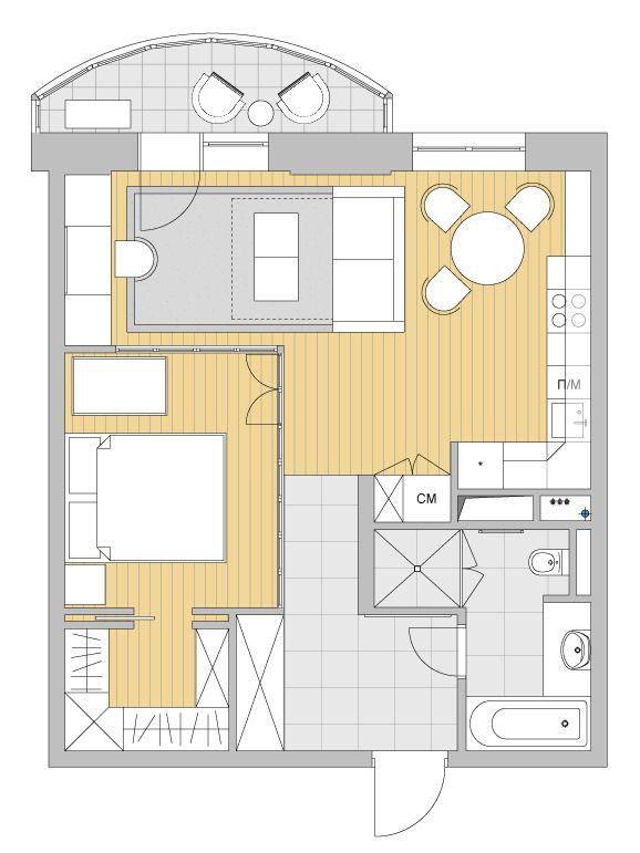 Фотография: в стиле , Перепланировка, как из однушки сделать трешку, Светлана Старцева, Massimos, однокомнатная квартира для семьи, как обустроить однокомнатную квартиру для пары с ребенком – фото на InMyRoom.ru