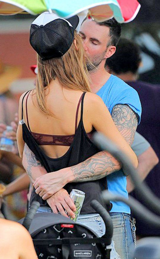 The newly engaged couple! Adam Levine and Behati Prinsloo!