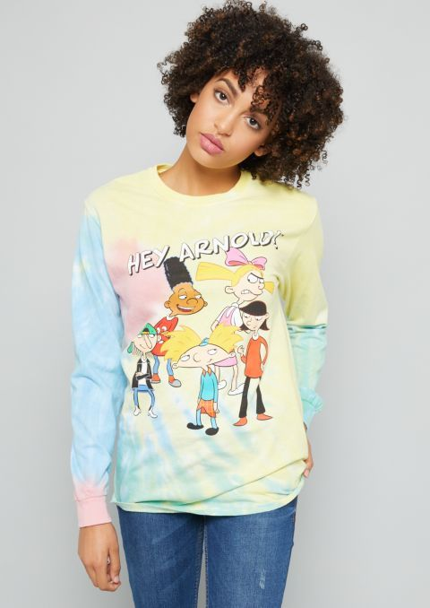 b9cf938b Pastel Tie Dye Hey Arnold Long Sleeve Graphic Tee | Rue21 | Shirts ...
