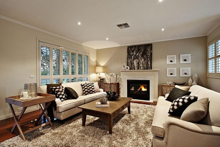 Hampton Style Living Room With Fireplace And Feature Wall