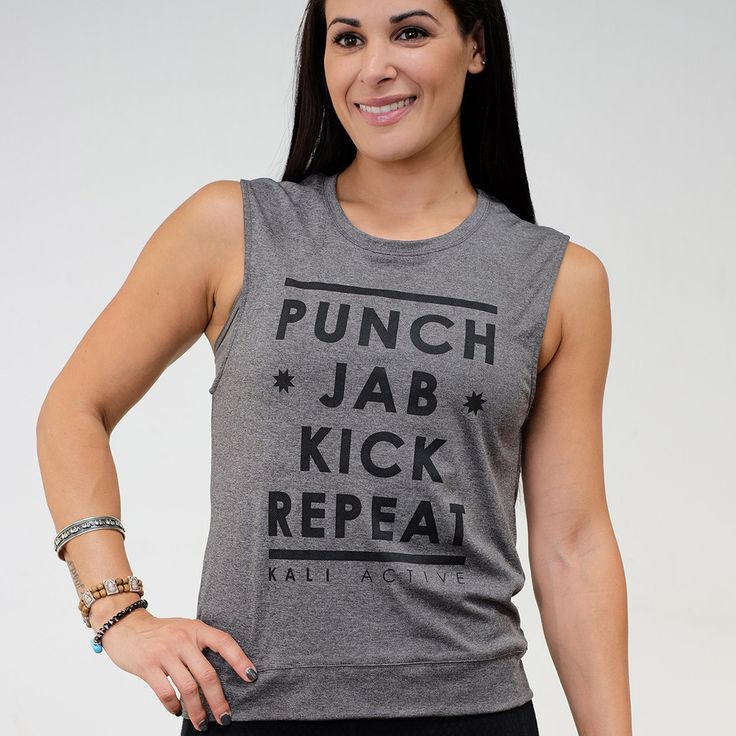 Punch/Jab/Kick/Repeat. Sound familiar, kickboxing badass? This Kali Active muscle tee in technical performance poly, anti-bacterial fabric is lightweight, soft, and quick drying, perfect for those int