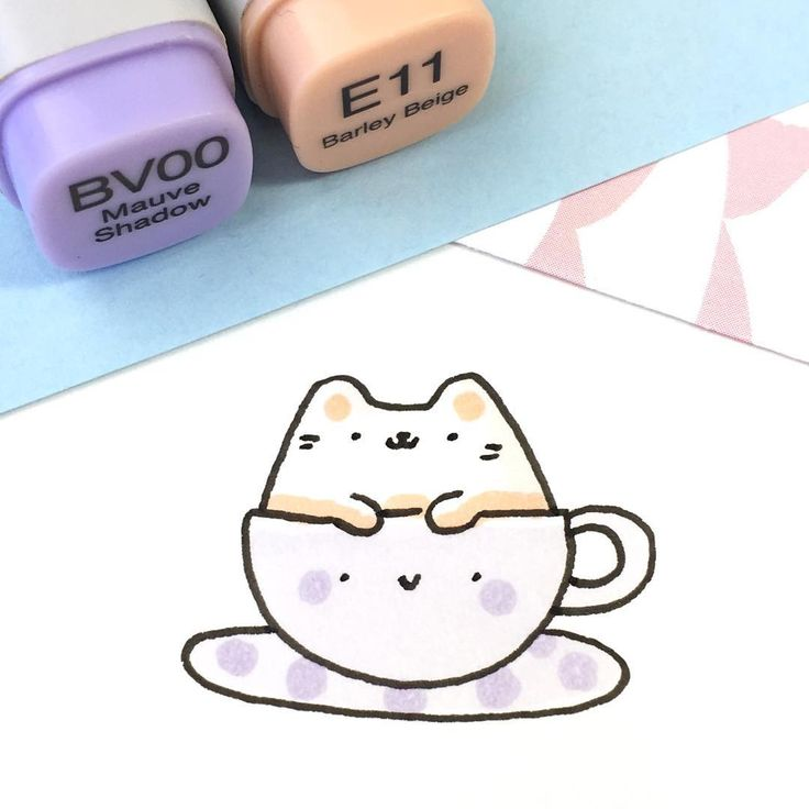 """⭐️KiraKiraDoodles on Instagram: """"Did someone order a cappuccino with extra meow-lk foam? ☕️☺️ • • #kawaii #kitty #doodle #sketchbook #cappuccino #catpuccino #milkfoam…"""""""
