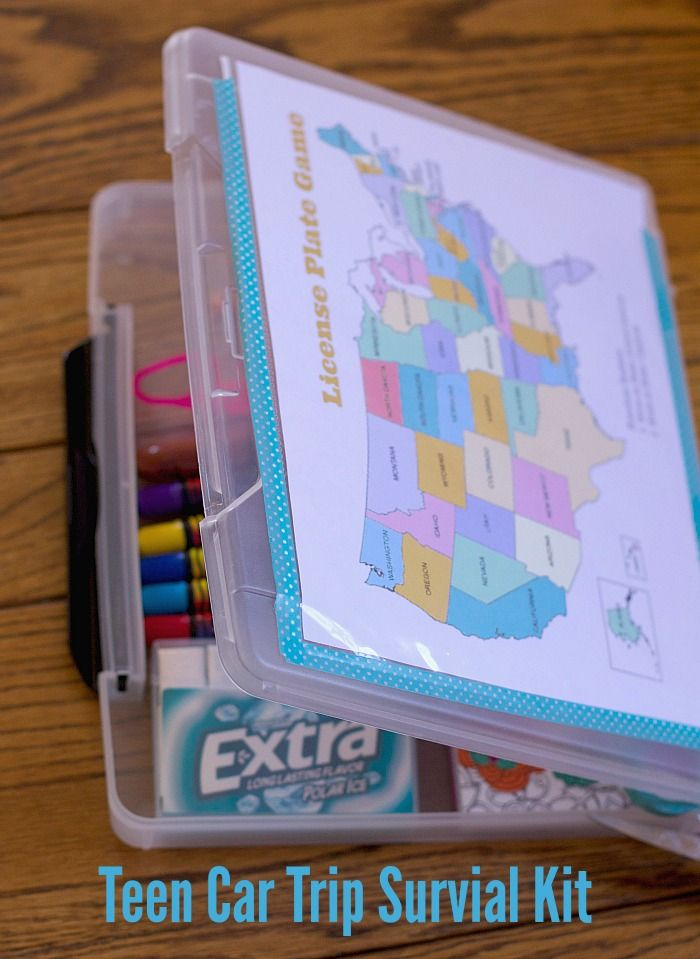 keep your teens engaged during road trips create this car trip teen busy box idea