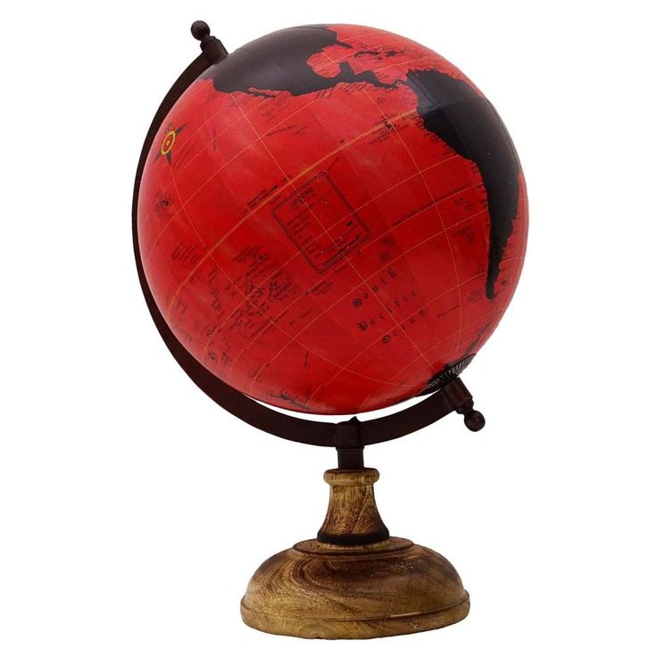 Big Rotating Desktop Earth Red Ocean Globe World Geography Table Decor 12 7"