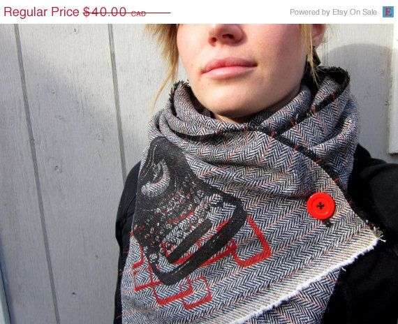 Herringbone Scarf Typewriter Print ButtonUp Cowl by poisonpear, $30.00