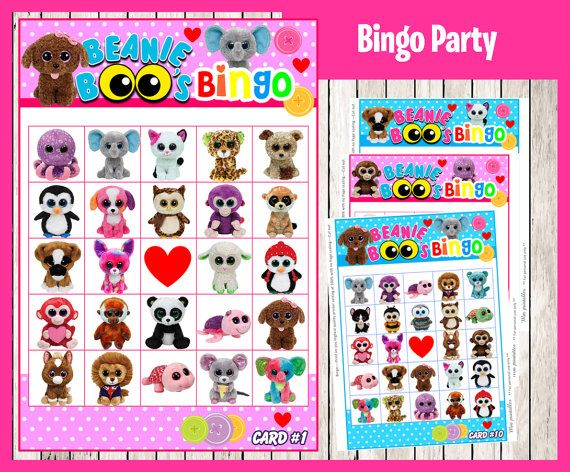 Beanie Boo Bingo Game instant download Printable by printnatyparty