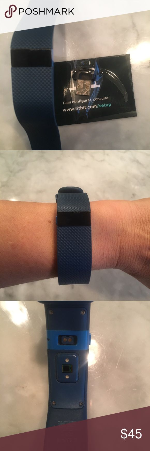 Fitbit Charge HR blue large Good condition-includes set up info. Tracks workout, heart rate, and sleep. fitbit Accessories Watches