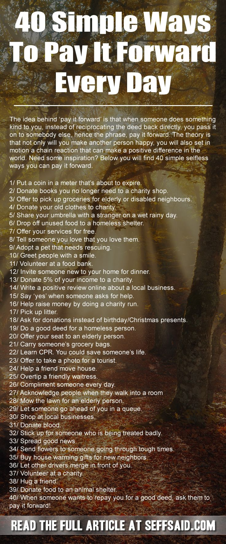 40 simple ways to pay it forward every day self improvement paying it forward quotes pay it. Black Bedroom Furniture Sets. Home Design Ideas