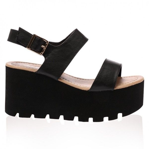 Faye Black Chunky Flatform Sandal (640 MXN) ❤ liked on Polyvore featuring shoes, sandals, mid-heel sandals, flatform sandals, mid heel sandals, black shoes and black sandals