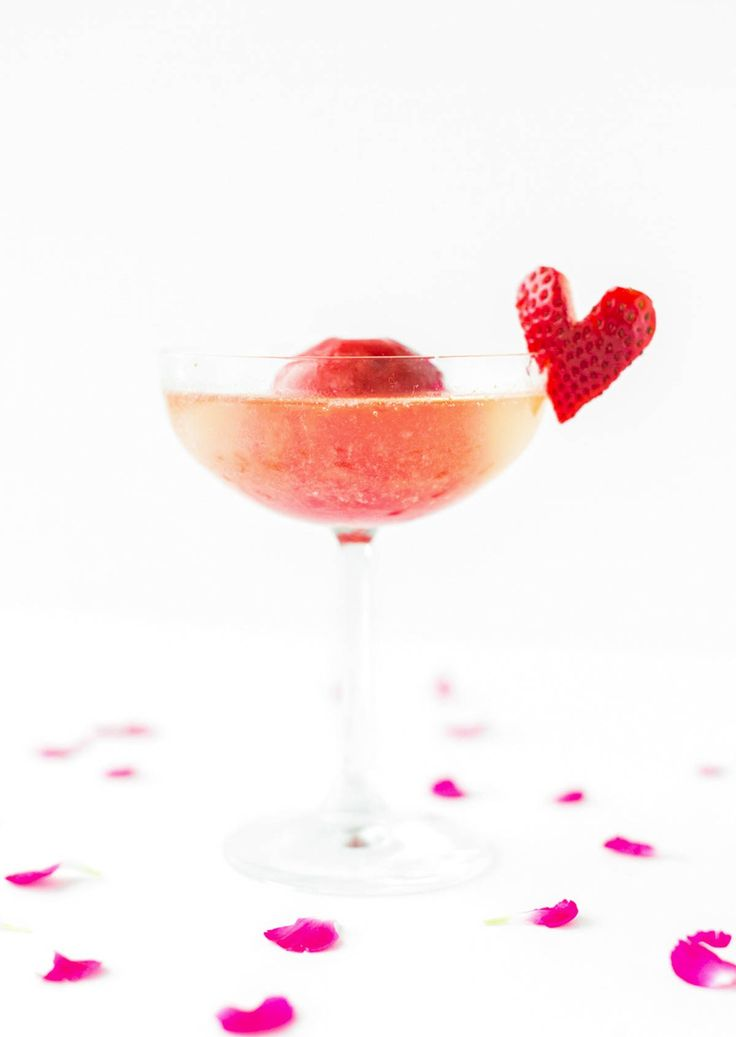 strawberry and rose sorbet champagne