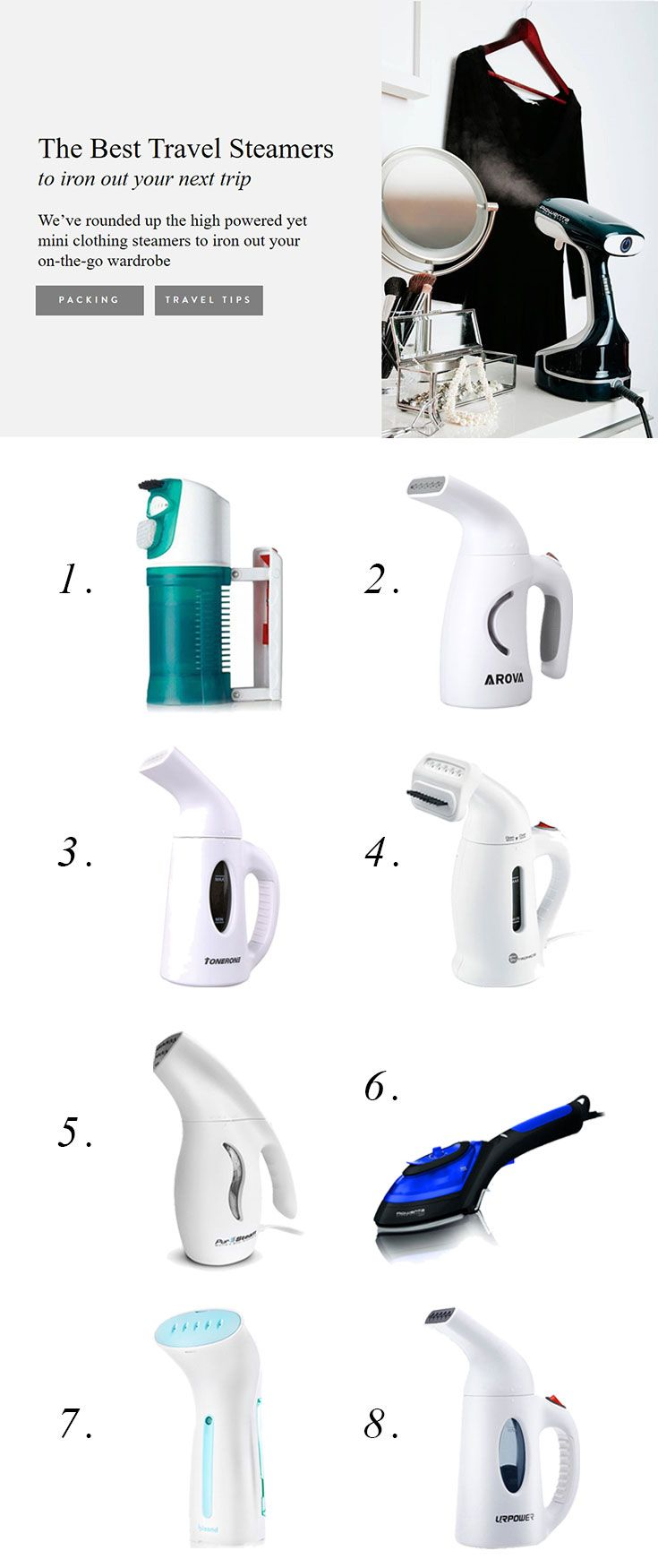 Stay wrinkle free all vacation long with a garment steamer. Read our reviews of the most popular steam irons to find the best travel steamer for your trip!