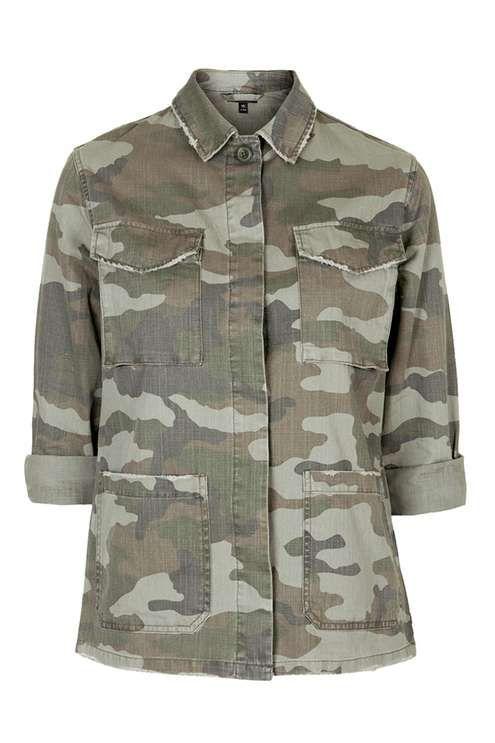 PETITE Camouflage Print Shacket