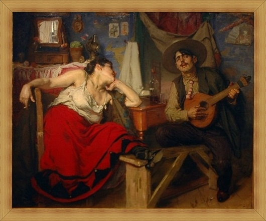 "One of the most famous paintings of José Malhoa: ""Fado"""