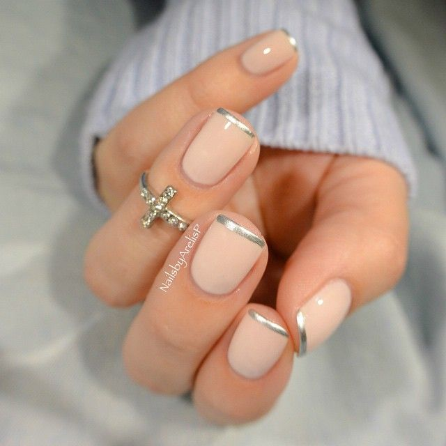 Base = Essie Ballet Slippers (3 thin coats); French = Essie No Place Like Chrome