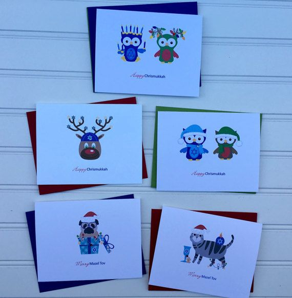 This funny Chrismukkah greeting card is perfect for someone who has a sense of humor and who celebrates Hanukkah and Christmas or for someone who is in an interfaith relationship.