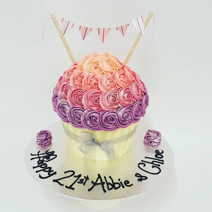 Pink and Purple Roses Giant Cupcake with Bunting