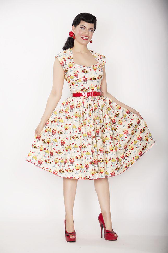 SALE! 1950s Style Ivory Rose Sundae Swing Dress (35248-ROSESUNDAE) van Bernie Dexter - New from Bernie Dexter! The Ivory...Price - $122.00-3prO1NJA