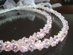 Pink and Purple Flower Stefana, $250.00 at Greek Wedding Shop ~ http://www.greekweddingshop.com