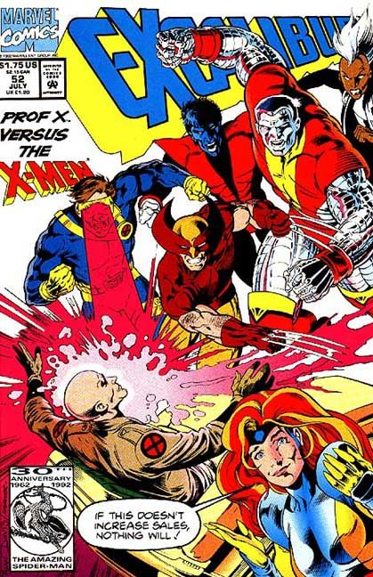 This is the cover for Excalibur #52, drawn by Alan Davis. An even more cheeky cover from Alan, for another issue he didn't do pencils (interiors were drawn by Will Simpson).