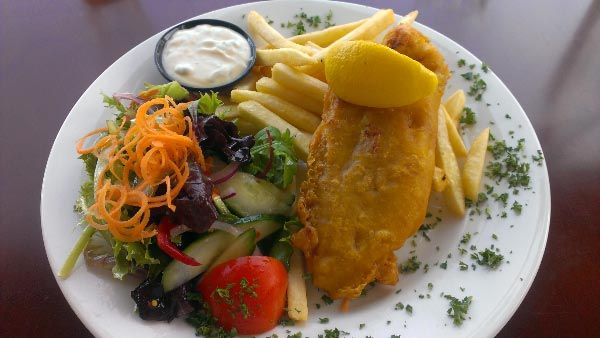 Fish and Chips from the Lufra Hotel, Eaglehawk Neck, Tasman Peninsula. Article and photo for Think Tasmania.