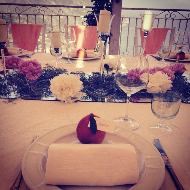 peonies centerpiece, candles, Wedding Day, peach, green and white colors, Hotel Bonadies, ravello, Olga Studio, Sposa Mediterranea, Federica Wedding Planner