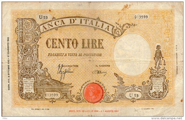 """TALIA 100 LIRE,GRANDE """"B"""" 8.10.1943,67a,(23.08.1943 - 11.11.1944), signatures: Azzolini & Urbini"""