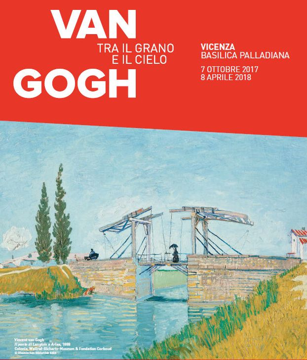 2017-2018, Van Gogh – Tra il Grano e il Cielo; Van Gogh Exhibit – Between Wheat and Sky, Oct. 7-April 8, in Vicenza, Palladian Basilica, Piazza dei Signori; Mondays-Thursdays, 9 a.m.-6 p.m.; Fridays-Sundays, 9 a.m.-8 p.m.; entrance fee: €14; reduced €11 (for students younger than 26 and senior citizens older than 65); €8 (children aged 6-17); free for children younger than six
