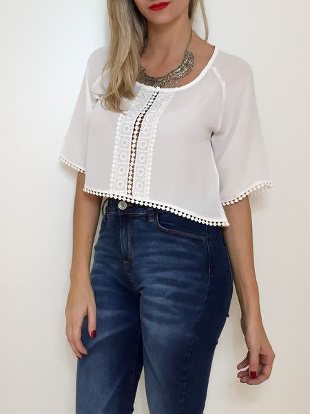 Cropped soltinho com renda
