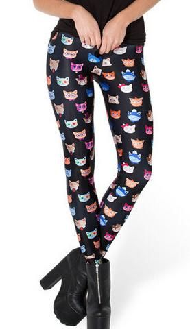 Cute Cat Printed Black Leggings - Two Stupid Cats With these leggings you'll be the coolest Cat in town.  Item Type: Leggings Gender: Women Pattern Type: Character Waist Type: Mid Fabric Type: Denim Material: Cotton,Polyester,Spandex Length: Ankle-Length Thickness: Standard