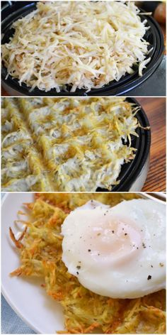 """17 Unexpected Foods You Can Cook In A Waffle Iron: None of these are waffles. All of them are delicious."" -- Hash browns (shown); Cinnamon Rolls; Brownies; Cheeseburgers; S'mores; Soft Pretzels; Panini; Scrambled Eggs; Quesadillas; Falafel; Bacon; French Toast; Pizza; Chocolate Chip Cookies; Macaroni and Cheese; Philly Cheesesteak; Hot Dogs."
