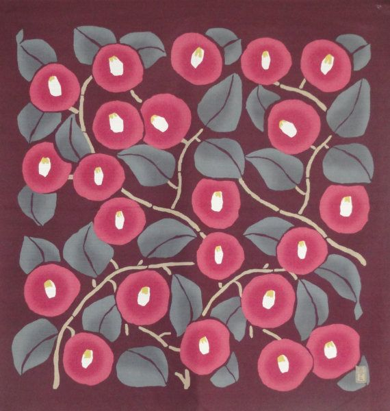 Large Size Cotton Takehisa Yumeji 'Azuki Red Tsubaki' Furoshiki Japanese Fabric w/Free Shipping