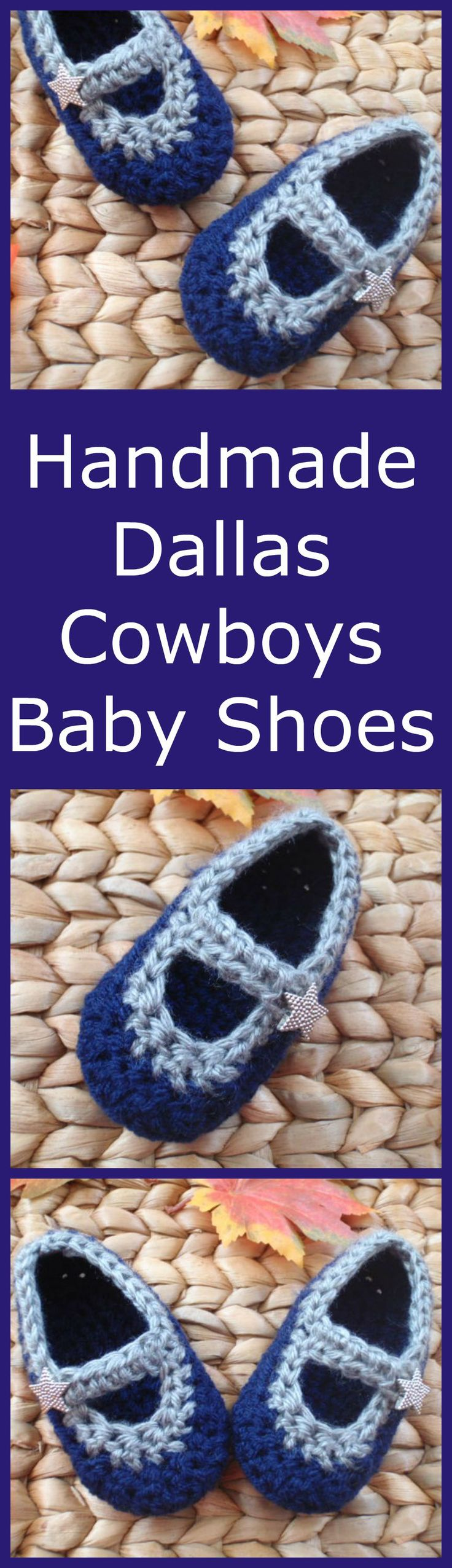 How about them Cowboys?! Dallas Cowboys Crochet Baby Mary Janes are made for your littlest Cowboys fan. They are crocheted with dark blue and gray yarn and have silver star buttons.  They are the perfect accessory for the NFL football games! Free shipping included with all orders. For more baby and toddler accessories, please stop by my Etsy shop at www.etsy.com/sweetheartsandsoles  Please REPIN if you like these!