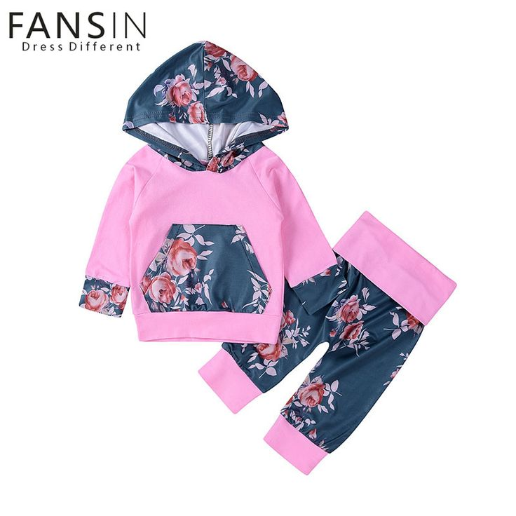 FANSIN Brand Baby Girls Clothes Pink Hooded Tops Pants Kids Floral Clothing Winter Long Sleeve Infant Outfits 2Pcs Set Costume