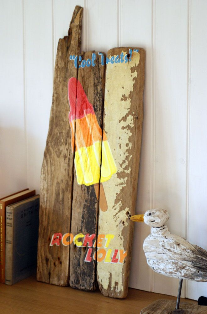 Rocket Lolly Driftwood Painting. Love Paint UK | Handmade Home Decor