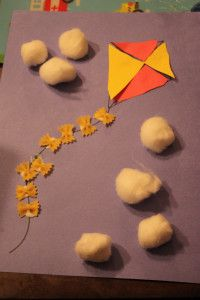 Kite Craft - love the mini bow tie pasta on the kite tail!
