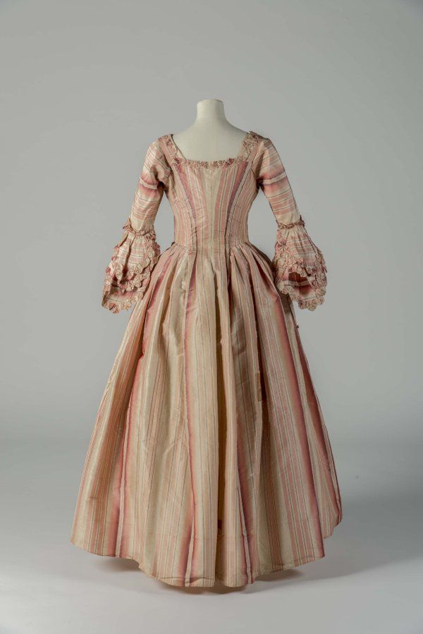 """Fashion Museum Bath on Twitter: """"One of the Georgian gems out at the Study Facilities today! Pink &white striped silk Robe à l'Anglaise, 1770s…"""