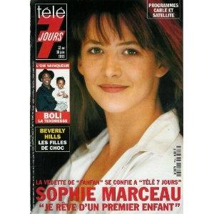 """Sophie Marceau, la vedette de """"Fanfan"""" se confie : """"Je rêve d'un premier enfant"""", dans Télé 7 jours (n°1724) du 12/06/1993 [couverture et article mis en vente par Presse-Mémoire]"""