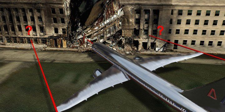 How does a plane with a 157 wing span enter the Pentagon and leave a 60 foot wide hole?