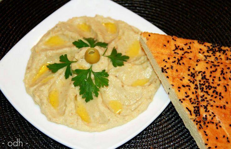 Salade baba ghanouge syrienne a l hobergine avec le pain semoule