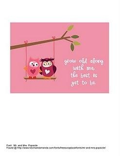 5×7 Owl Printable with John Lennon quote.  This would make a sweet card, or put it in a frame for Valentine decor.