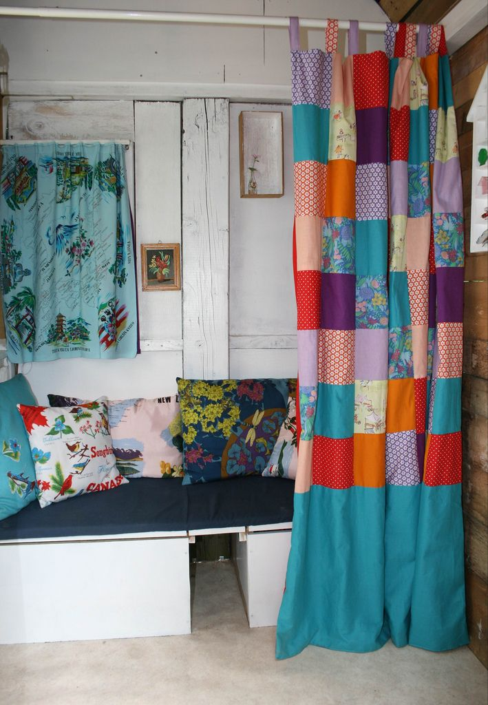 patchwork curtains - for the craft room?!