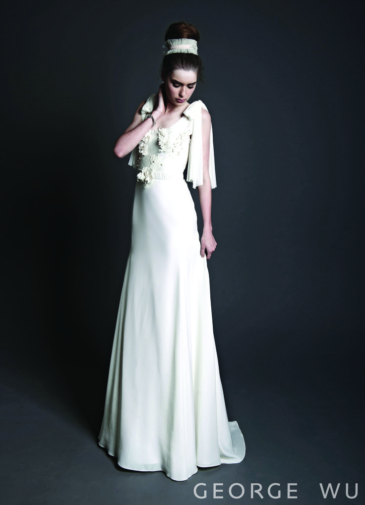 Landrelli Dress - Silk sheers with bodice hand embroidered French lace applique. Pearls and crystals embellishment on top of the lace details are truly beautiful close up. Sheer silk fabric tie up to a soft draped bow on the shoulder. Made in Australia.  Repin for your own #wedding #inspiration.  #bridal #couture #design #gowns #lace