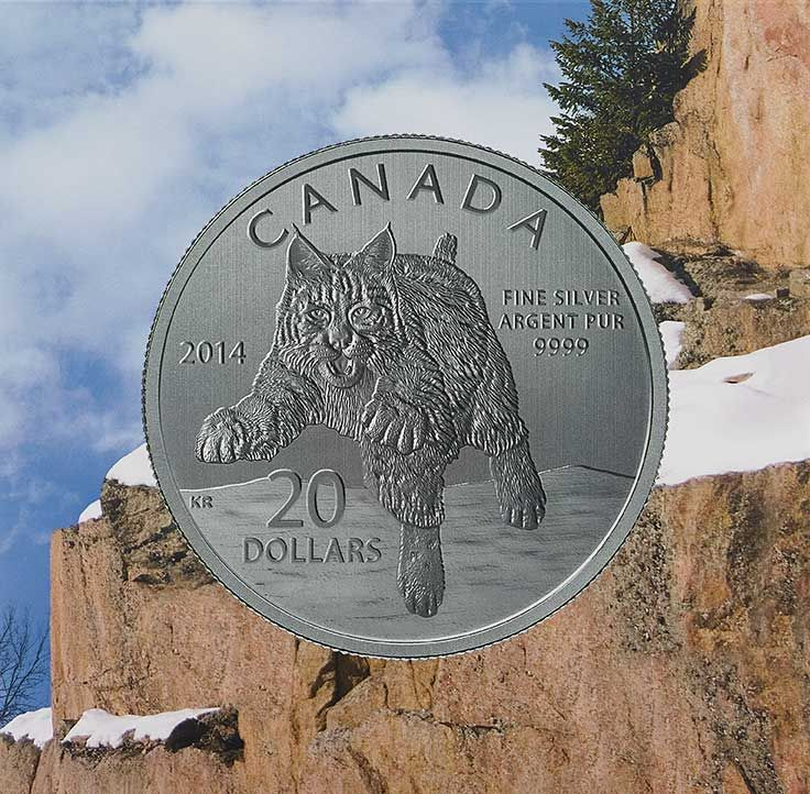 Pièce de 20 $ en argent fin pour 20 $ - Lynx roux (2014)