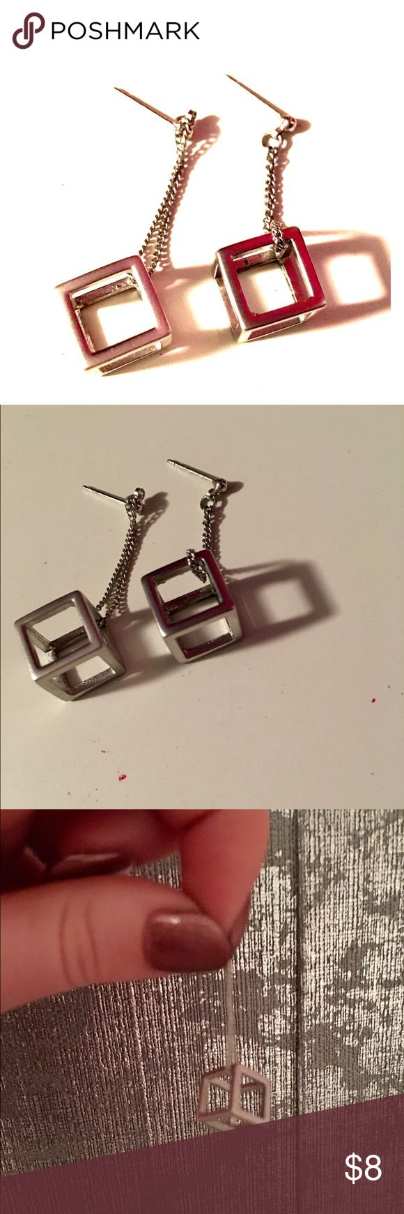 Cube Dangling Earrings Super cute silver Dangling earrings. Backs not included. Never worn, NWOT except for misplaced backs. Very unique Jewelry Earrings