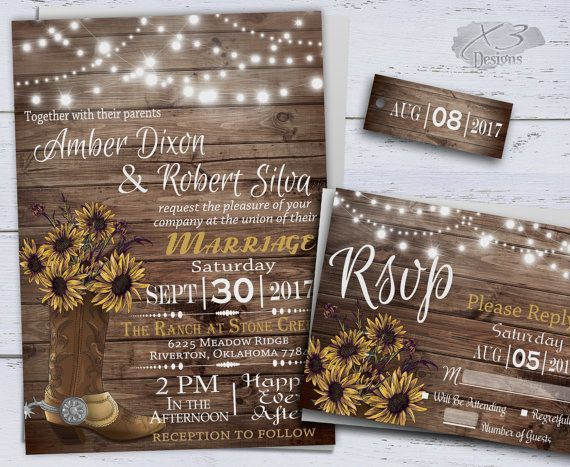 Sunflower Wedding Invitations, Printable Rustic Wedding, Country Wedding invitation, Western Wedding, Cowboy Boot & String Lights