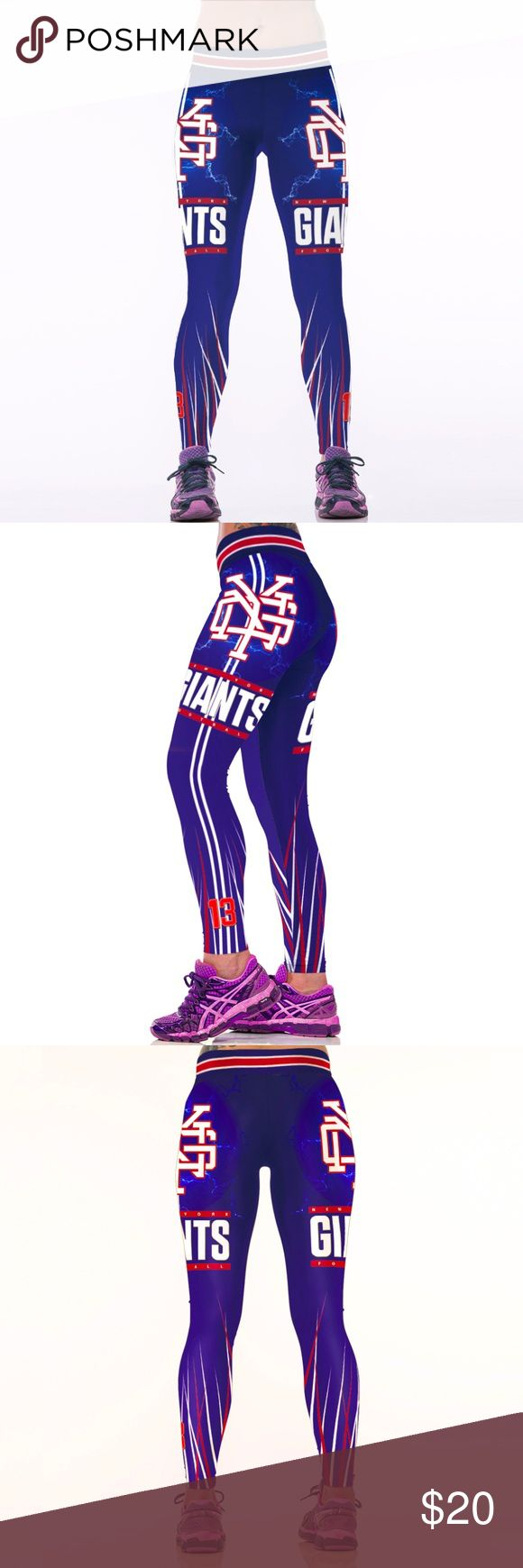 New York Giants Leggings Lightweight soft- quick dry breathable fabric Suitable for any kind of workout, gym, yoga, Zumba, cycling, etc. or casual wear High-quality construction with 6-thread double lock stitch seams Four-way Stretch Material: 82% Polyester, 18% Spandex Pants Leggings